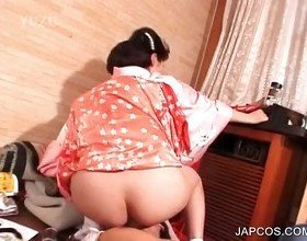 Japanese geisha riding penis on the floor