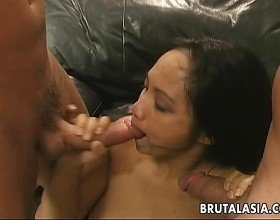Butter face Asian cuttie getting double penetrated