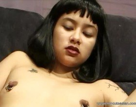 Cute half Asian gets cum all over her nipple