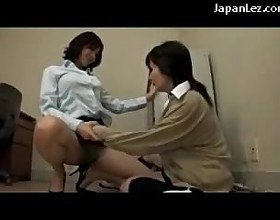 Office Lady Getting Her Tits Pussy Rubbed Licking Other Girls Pussy On The Desk In The Office