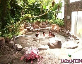 Tiny Japanese babes sharing cock in onsen
