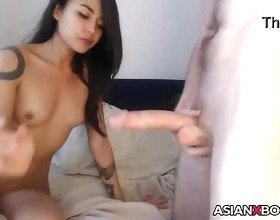 Stunning asian GF gets fucked
