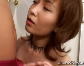 Horny J idol gets kinky blowing a roommates hard dick