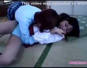 Schoolgirl getting her body kissed ass rubbed with pussy on