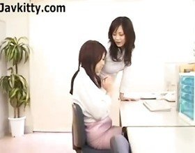 Japanese Lesbian Office Lady Seduces Her Coworker