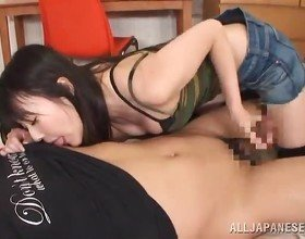 Tsubomi Licks Her Man's Dong Till Taking It In Her Thai Cleft