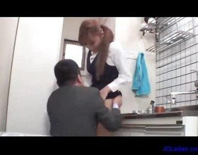 Office lady licked fingered sucking cock fucked on the couch