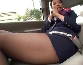 Nice japanese air hostess plays with some sextoys