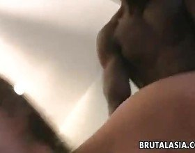 Lucky black dude gets his dick shared by two Asian sluts